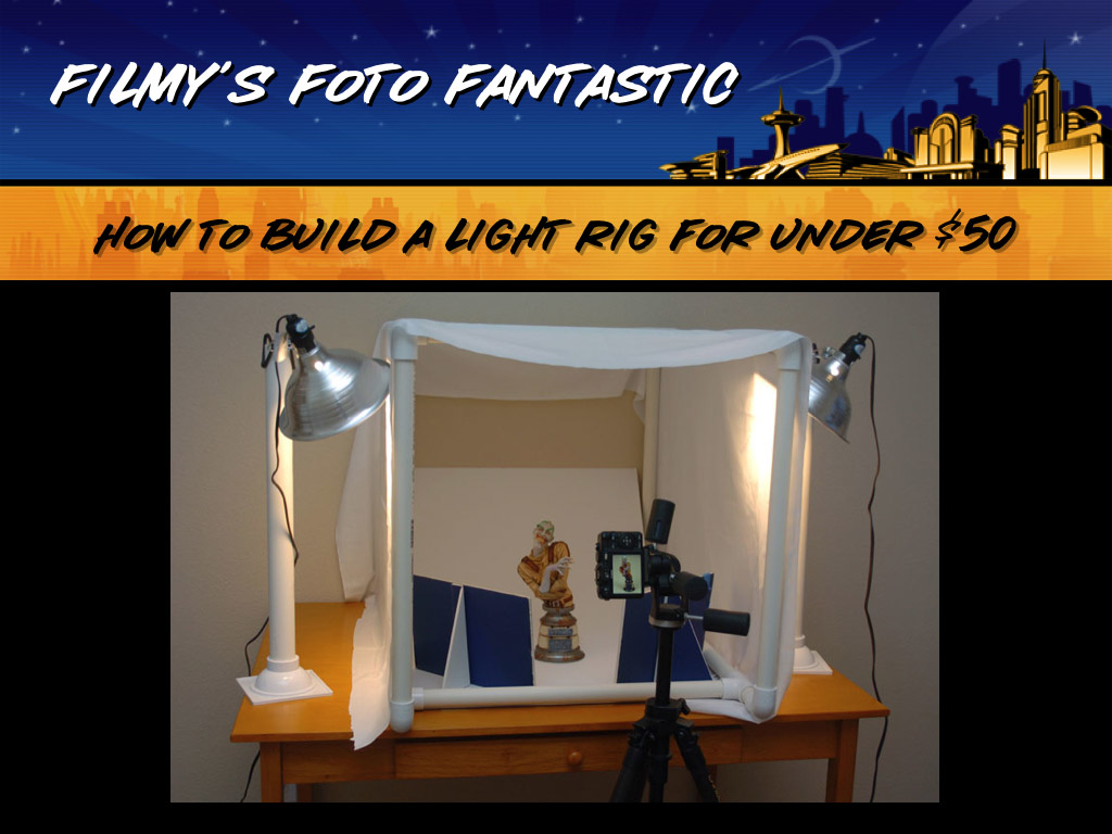 This is an excerpt from the photo seminar I gave at Wonderfest this year, Filmy's Foto Fantastic.  I don't use a photo tent, but a lot of people asked me how to build one, so I put this little tutorial together.  Note that a photo tent will not make you a great photographer.  It WILL diffuse the light and give you a more even effect for your photos, but it is not the cure-all for model photography.<br /> <br /> The main thing you need for good photos is an understanding of the basics - aperture, shutter speed, lighting, and depth of field.  FOr more information, check out the slides from my seminar in the Filmy's Foto Fantastic tutorial.