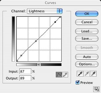and here are the LAB curves I used afterward to fine tune the contrast and improve saturation:<br /> <br /> You could use other methods for boosting contrast and saturation, as well.