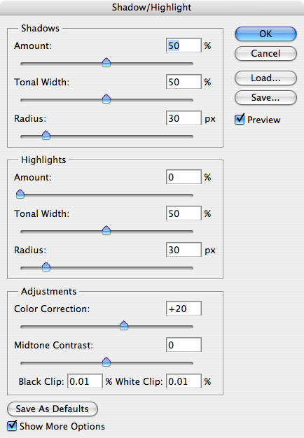 When you open the Shadow/Highlight tool, it is set by default as you see here.