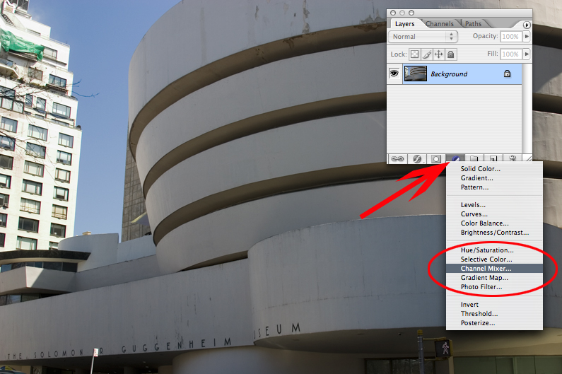 A dead-simple BW conversion method.   Do a new adjustment layer, channel mixer.  The new adjustment layer in photoshop is that black/white circle at the bottom of your layers palette.