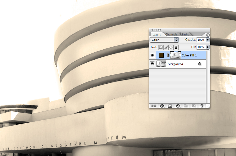 Now the power of adjustment layers.  You can invert the color, by doing cmd-i (pc: ctrl-i)