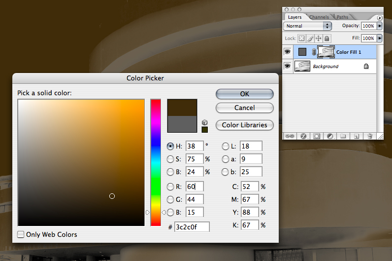 And the color picker dialog will come up.  You can put any color you like - I chose a chocolate brown.  Click OK.