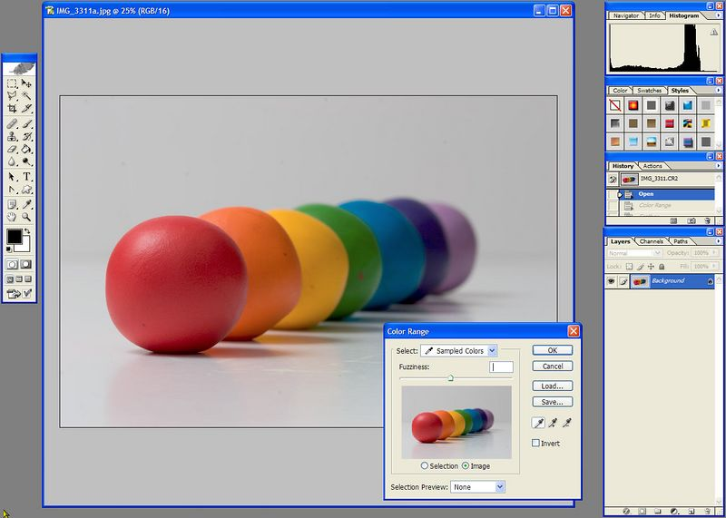 Open the file in photoshop<br /> <br /> Choose select>color range<br /> <br /> Use the eyedropper and drag it along the full range of the grey background color<br /> <br /> Click enter<br /> <br /> Now, the background is selected<br /> choose select>feather and try 2 pixels