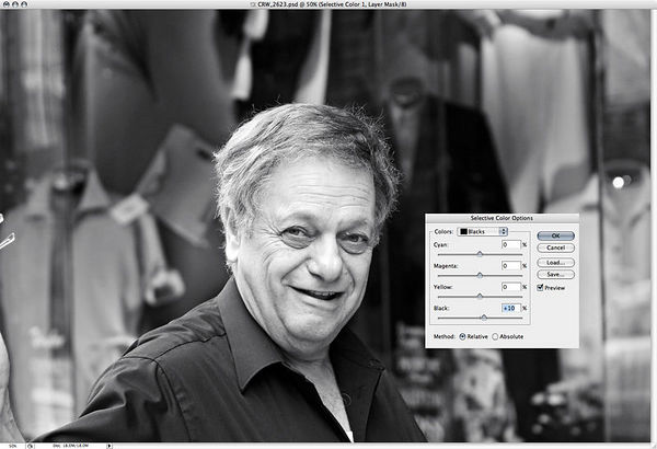 """Sometimes, I take one additional step, to really kick it up a notch:  New adjustment layer>Selective Color. Choose the blacks.  Up the blacks by 8-15, to taste.  You'll see the difference.  Do it on a <a href=""""http://www.dgrin.com/showthread.php?t=1560"""" target= """"_blank"""">layer mask</a>, and you can brush away the areas you don't want the effect!"""