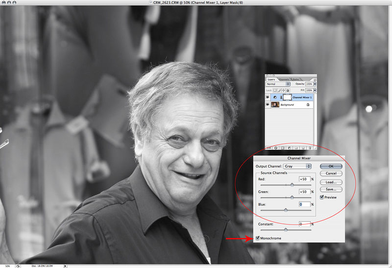 "OK here's my dead-simple B&W conversion recipe.  Is it the best?  Hardly.  But it's easy, and nearly anyone can do it.  In photoshop, new <a href=""http://www.dgrin.com/showthread.php?t=1560&highlight=layer+mask+tutorial"" target= ""_blank"">adjustment layer>channel mixer</a>.  Choose values of 50, 50, 0 and check the monochrome box."
