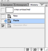 Your History Palette won't look just like this, but the important thing is that your last History State will be the Gaussian Blur, which you just applied in the step above.<br /> <br /> Select the previous layer (blue in this example), and click the box to the left of Guassian Blur, which will place the History Brush icon in that box. This means that when you paint with the history brush, it will be painting NOT with color, but with that History state. Confusing, mabye, but you'll see how it works in a minute.