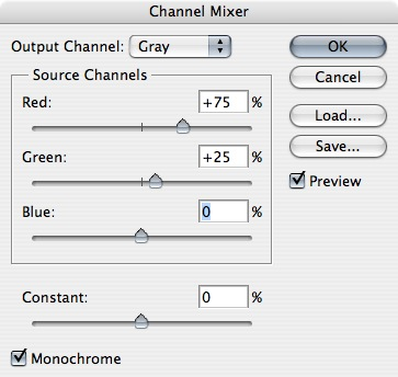 If you haven't gone to B&W,  you'll want to do Channel Mixer, and modify the red & green channels.  Check the monochrome box.