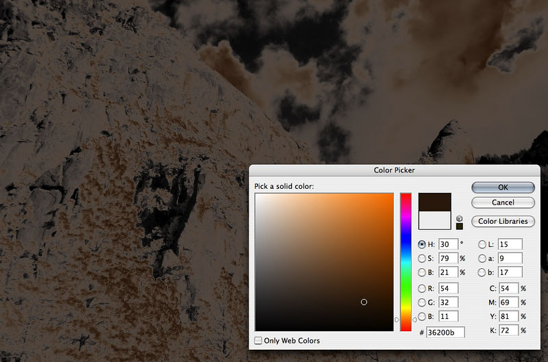 Let's add some Luminosity Toning.  Cmd-Shift-~ (PC: Ctrl-Shift-~) to select the luminosity.  Then New Color Fill Layer, choose your color (I like chocolate brown sometimes...)