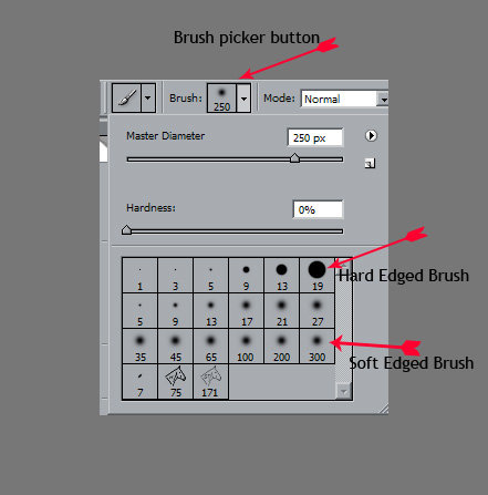 """<strong>Choose a Soft Edged Brush</strong>  Choose a soft edge brush by clicking the brush tool ( or hit B) and then choose a """"soft edged"""" brush. Choose an appropriate sized brush for the size of the area that you want to unmask."""