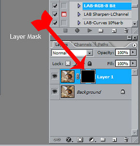 "<strong>Layer Mask</strong>  This shows a black layer mask on the sharpened layer. Black areas of a mask are ""masked"" or invisible. White areas of a mask are ""unmasked"" or visible.  Think of the black areas as covered up with masking tape and the white areas are where you peeled the tape off.   This will hopefully make more sense once you finish the tutorial."