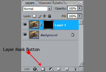"""<strong>Add a Layer Mask</strong>  Now don't panic. Layers and Layer masks only sound complicated, they really aren't too bad.  Do this by holding the alt key and clicking the Layer Mask button. This will add a """"Mask"""" to the layer filled with black."""