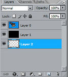 <strong>Make a 3rd layer</strong>  Create a 3rd layer underneath your previous 2 layers. Hold ctrl+alt and left click the new layer icon on the bottom of the layers palette.