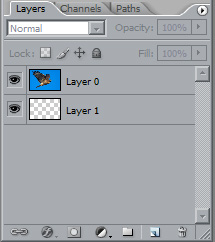 <strong>Add a layer underneath your layer</strong>  Make the background layer into a normal layer by Selecting from the Menu - Layer..New...Layer from background  Make a new layer underneath the first layer. Hold ctrl+alt and left click the new layer icon on the bottom of the layers palette.