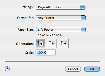 "Next go to File>Page Setup, and select the pull down menu ""Paper Size""."