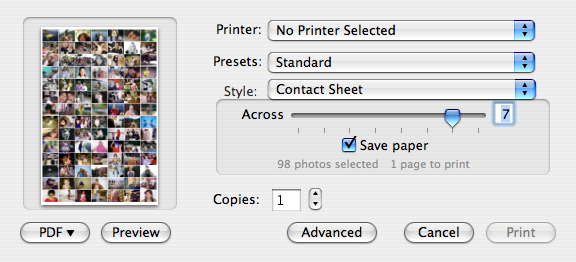 "Select File>Print and select the style ""Contact Sheet"". Move the slider over so that you have 7 across.<br /> <br /> Then go to the PDF button, and select ""Save As PDF""."