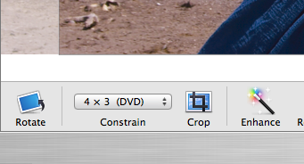 Once in Edit, you'll have the option to Constrain your crop. Choose 4x3 (DVD) and make sure that it crops in landscape orientation (wider than it is tall).