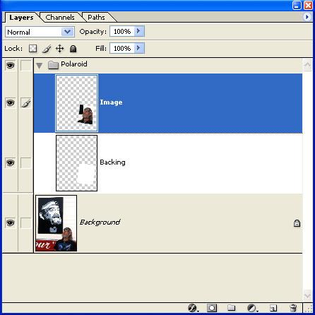 Press (PC: <i>Control + ]</i>, Mac: <i>Command + ]</i>). This moves the Image Layer up into the Polaroid Layer Set.  Press (PC: <i>Control + ]</i>, Mac: <i>Command + ]</i>) again. This moves the Image layer above the backing layer.