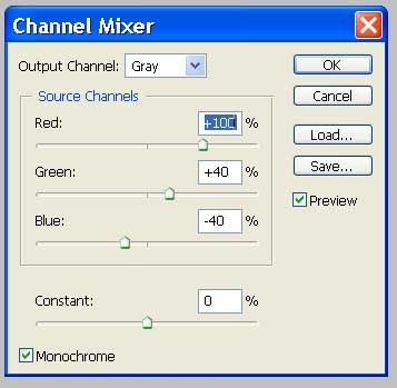 Here are the settings I used in the Channel Mixer Dialog.