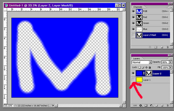 If you turn off the visibility of the yellow layer, this is what the blue layer looks like by itself.<br /> <br /> Notice that the blue image icon in the layers palette is still solid blue. The pixels of the M are still there, but are being blocked by the mask.