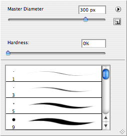 """Once you're happy with the changes you've made, it's time to limit those changes to the area of the image where you want them. Most likely the change you made will worsen the rest of the image, but we're about to fix that.<br /> <br /> Type """"b"""" to select the brush tool, and take a look at your settings. In your menu bar to the left will be the brush settings menu. Pull it down, and it will look like this. You can set your diameter to whatever works for you. The bigger the better, but too big can get in your way. The important thing is to set your hardness all the way down to 0%. This will make your work very hard to see."""