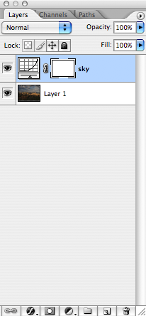 """Start by making a new Curves Adjustment Layer. Holding the option key on a Mac, or alt key on a PC, click on the black/white circle at the bottom of the Layers Palette, and choose Curves.<br /> <br /> You can then name your adjustment layer. This is a good idea, so that you can keep track of what you're doing. I'm going to start by working on the sky, so I've named my layer """"sky"""".<br /> <br /> Once you've done that, your Layers Palette will look like the one here. On the bottom you've got your image, and above that the Curves adjustment layer.<br /> <br /> There are two boxes in the Curves Adjustment Layer. The one on the left will open the curves if you double click on it. The one on the right is the Layer Mask. It starts out white, which means that the adjustments you make will affect the entire image.<br /> <br /> We'll set the curves values before we mask it out. Double click on the curves box on the sky layer (remember, that's the one on the left)."""