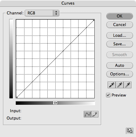 We set the black and white points in the curves dialog box.<br /> <br /> Go to: Layer>New Adjustment Layer>Curves, and this dialog box opens up.<br /> <br /> There are 3 eyedroppers. Double click on the one on the left, which sets the black point.
