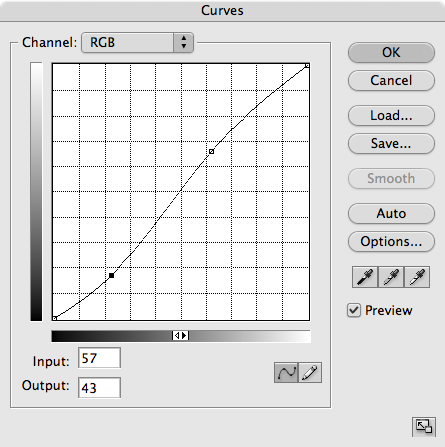 So now you've got two new points in your curve.<br /> <br /> All you need to do now is to make the line between the two steeper. Experiment with it, and see what looks good to you. <br /> <br /> This type of a curve is called an S Curve, for it's shape. It's the most basic of curves.<br /> <br /> The top point in my curves here is the cheek highlight, and the lower on is the shadow of the cheek. By making the shadow a little darker (draggin it down) and the highlight a little lighter (dragging it up), I've increased the contrast in the tonal range of the man's face.