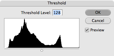 OK. Now we need to find the black point and the white point. <br /> <br /> We do that by using Image>Adjustments>Threshold. This dialog pops up.<br /> <br /> Slide the control all the way to the left, until everything is white, and then slowly move it to the right.