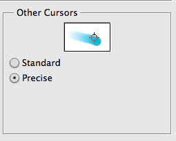 First, let's get ready.<br /> <br /> If you go to your Photoshop preferences, you'll see an option for Cursors. Select that option, and the window will open up, giving you many options. We're just going to worry about this one: change your cursors from Standard to Precise.