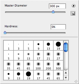 Select the brush tool, and make sure you set the hardness to 0%. You can adjust the Master Diameter to suit. Make it big enough to be convenient, but not so big that it's unwieldy. The size completely depends on the resolution of the image and the size of the area you want to paint. But <strong>always 0%</strong>.