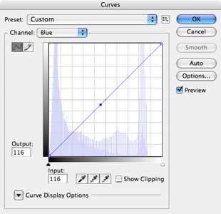 When you control click, you put a marker in the curve. A handle, that you can adjust the curve with. Just use your up and down arrows to adjust. In this case, we want to make the blue darker, which will increase the yellow in the image, so we'll use the down arrow.