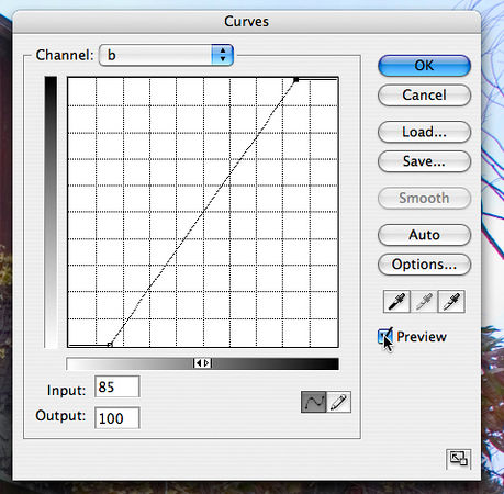 "<strong style=""color: gray"">How to work with curves</strong> So far, so good, but the next step requires a little more dexterity with the curves dialog, so I'm going to take you on a little detour and explore a few of its features. <br><br> <strong style=""color: gray"">Curves Preview</strong> The figure shows the mouse over the <i>Preview</i> check box.  Clicking this off and on shows the image before and after the curve is applied.  Get used to using this a lot.  It's the best way to see where you are going and to make mid course corrections."