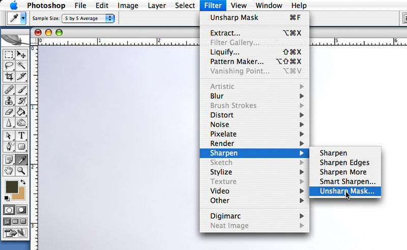 "<strong style=""color: gray"">6. Sharpen with the Unsharp Mask Filter</strong>  Bring up the <i>Unsharp Mask</i> dialog by clicking first on the <i>Filter</i> menu, then on the <i>Sharpen</i> sub menu and finally on the <i>Unsharp Mask</i> item."