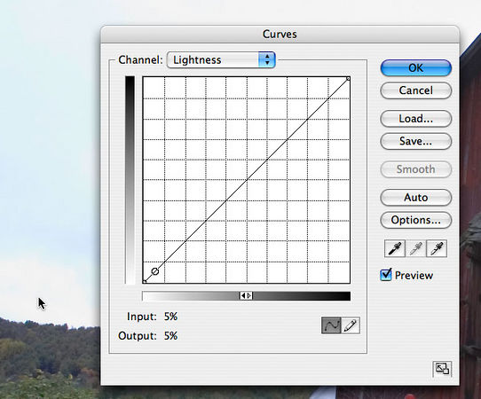 "<strong style=""color: gray"">Using the Curves Dialog to measure points in your image</strong> This feature is the great secret of being able to use curves well.  With the curves dialog open, click the mouse on any spot of your image and a point will appear on the dialog showing the value of the color at the spot on the curve.  Drag the mouse cursor (move it with the mouse button (right mouse if you have more than one mouse button) held down, and the point will move along the curve to show the value dynamically. I am about to make very good use of this feature in order to implement the next step of the recipe. <br><br> <strong style=""color: gray"">4. Establish light and dark points</strong> Generally, images look best when they use the full range of available contrast.  That means that they have a darkest spot which is truly black and a lightest spot which is truly white. It's actually quite a bit more complicated than that, but it's easiest to understand by doing than by theorizing.  I used the <i>Channel</i> drop down to switch to the <i>Lightness</i> channel of the curves dialog.  Then I used the mouse to look around for the lightest point I could find in the image.  It's in the clouds.  You can see that it's about 5% above the 0,0 point of the graph, meaning that it isn't as light as it could be."
