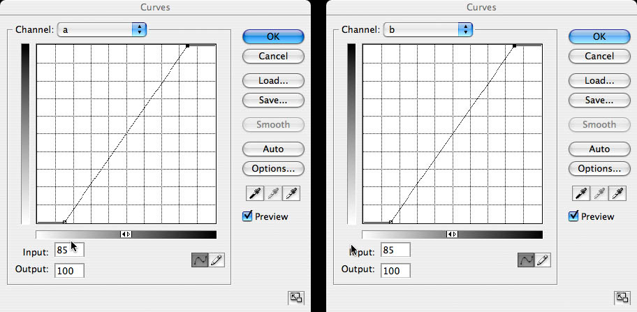 Exactly what I am going to do with these curves is to make them steeper by dragging each endpoint toward horizontally toward the center while keeping it at the bottom or the top of the graph.  It's important that I have steepend the curves symetrically and equally.    The steepening is <i>symetrical</i> in that the two endpoints of each curve have been moved inward by exaclty the same amount, in this case 15%.  <i>The center of the line still crosses the midpoint of the graph.</i>  For now, treat this as a matter of revealed truth, the 11th commandment.  The steepening is <i>equal</i> in that I have done exactly the same thing to both <i>A</i> and <i>B</i> curves.