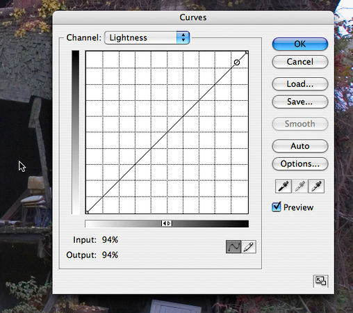 Similarly, I used the curve and mouse trick feature to find the darkest part of the picture.  There are lots of candidates, inside the barn.  But none of them measures 100 on the graph, meaning they are all a little gray instead of black.