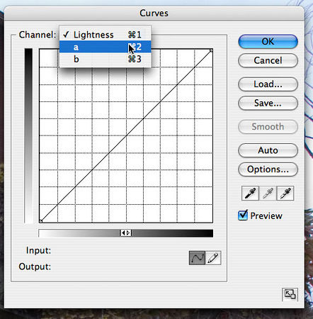 "<strong style=""color: gray"">3. Steepen the A and B curves</strong> The curves dialog allows you to alter your image in each channel of it's current color space.  In this case, the image has been converted to LAB and has three channels, <i>Lightness</i>, <i>A</i>, and <i>B</i>.  You can change which of these the curve applies to by clicking on the <i>Channel</i> dropdown and selecting an item.  For now I am going to work with the <i>A</i> and the <i>B</i> curves."