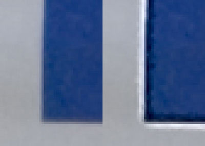 "This is the bottom left of the ""B"" in ""Believe"". In the original the transition between blue and gray wasn't completely sharp. It shades from gray to blue over a couple of pixels. Dan says this is caused by, ""the real life line of transition being narrower than ... even ... film ... can resolve."" The after image shows clearly how the USM magic trick works. The dark blue area has been surrounded with a light colored halo in the gray area. And the lighter gray area has been surrounded with a darker colored halo in the blue area. <br> <br>   <b>What sharpening can't do</b> <br> <br>  Understanding how sharpening works leads to an understanding of its limitations. When I first heard about it, I thought, ""Just what I need, a way to correct fuzzy out-of-focus shots."" But sharpening cannot help where transitions aren't fairly crisp. It works by looking for transitions finner than some threshold (more about this soon.) If there are now such transitions, it does nothing and thus has no effect. Sharpening also can't help images without sharp transitions. Skin for example, is usually lacking in such transitions, and the ones that it does have are things we don't want to emphasize (wrinkles, pimples, etc.) On the other hand, portraits usually have things we do want to sharpen, eyes, hair, clothing, and things we really don't, skin for example. This is often true and a large part of the second tutorial is devoted to fine tuning so that sharpening does what we want and doesn't do what we don't want. <br><br> <b>When to sharpen</b> <br><br> Sharpen last after, any color correction, cropping, black and white conversion, not to mention composting and edits involving masks, brushes or cloning. Steepen curves after sharpening and you effectively change the amount parameter with unpredictable results. Sharpen before masking, extraction, composting, or cloning and you make you job all the harder and will likely end up with unnatural looking results. Once you become proficient at sharpening in post processing, you will want to disable in camera sharpening because you will want to sharpen yourself after other edits. Sharpening twice is generally a bad idea. Users of raw conversion software also will want to disable sharpening during conversion. Users of ACR should disable such automatic sharpening by following the arrow to the right of ""Settings Selected Image"" to the preferences menu. Option ""Apply sharpening to preview images only"". <br><br> Prepress professionals preparing images for publication sharpen with knowledge of the actual size of the reproduction, but that's probably to much to ask under most circumstances. If you are very prefectionistic, though, and want huge prints, it is a good idea to sharpen separately for them. <br> <br> <b>Unsharp mask recipe</b> <br> <br> The examples I gave above illustrate one of the frustrating things about sharpening. There is no pat formula that you can apply to all your photographs; each image requires some work to determine the correct sharpening parameters. It's actually worse than that. The correct sharpening parameters are also a function of the size the image will be reproduced. Large prints require a very light hand with the sharpening parameters. Images for posting on the Internet may require quite a bit of sharpening before the effect is noticeable and in many cases this poses insurmountable problems. The amount of sharpening required to make a visible difference is often so much that at least some parts of the image are over sharpened. Thus I usually take the approach of sharpening for largish sized prints and letting it go at that. In the cases where it matters most, this helps images posted on the web. It never make a mess. And it makes prints look great. The demolition derby and rooster pictures illustrate this. At dgrin L size, the effect of sharpening is subtle. In prints, it would be dramatic. The ""Believe"" picture is over sharpened for the sake of illustration. Here the difference is dramatic, even at this small size. A print of the sharpened version has visible halos that are very unattractive and distracting. <br> <br> Take heart, though, there is a simple 9 step procedure that produces good results for many shots. I'll outline the steps first and go through in detail with illustrations. <br> <br> <b>The Simple 9 Step Procedure</b> <br> <br> <ol> <li>Work in the LAB color space. If the image is not already in LAB mode, use Image->Mode->LAB to get it there. Select the L channel by clicking on it and then click the box to the left of the composite LAB channel in order to make all the channels visible at once. <li>Work with 100% magnification. Select some important part of your image, eyes and hair for example. If you care more about how your picture will look posted on the web, work at lower magnification. If you care more about very large prints work at higher magnification. Dan taught me that 100% was a good compromise, and I have found this to be true. <li>Bring up the USM dialog box with Filters->Sharpen->Unsharp Mask. <li>Set the ""Amount"" slider to it's highest setting, 500. <li>]Set the ""Radius"" slider to 5. The slider actually goes much higher, but trust me, this is a very high setting. <li>Tune the ""Threshold"" slider so that noise isn't being sharpened. With the slider at 0, you will see lots of ugly noise in areas that should be solid. Increase the threshold until only features that you actually want sharpened are affected. I often find that values between 10 and 30 work well. (Use the ""preview"" check box in this step and future steps to compare the unsharpened image with your current parameters.) <li>Tune the ""Radius"" parameter so that the halos are not so large as to obscure fine detail. Large halos can extend into neighboring areas and make a real mess. The correct values for this parameter are very dependent on the resolution of the image. For 8MP images, I find the right value is often somewhere between 1 and 3. <li>Tune the ""Amount"" parameter until the image actually looks good at 100%. This means turning it down until the halos are not quite visible but their effect is. Use the ""preview"" check box often here to compare with the original. The sharpened image should look sharper, but the halos should not be obvious. You may need to iterate a few times between steps 7. and 8. to fine tune a bit more. <li>Apply the filter and zoom to fit the image to your screen. Use undo/redo to compare the image before and after. </ol> <br> <br> Now, I'll walk though the steps in more detail with illustrations."