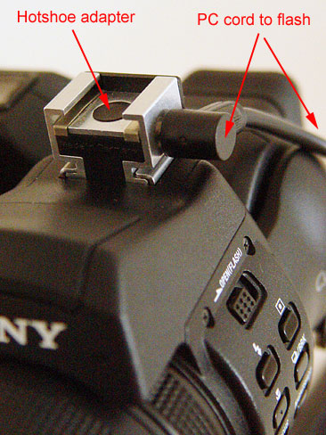 What we will do is get the flash off the camera and on a light stand using a PC cord to trigger the flash. Lets first start with the camera. If your camera does not have a PC port, then use the hotshoe. Just install a PC to hotshoe adapter and connect the PC cord to the adapter.