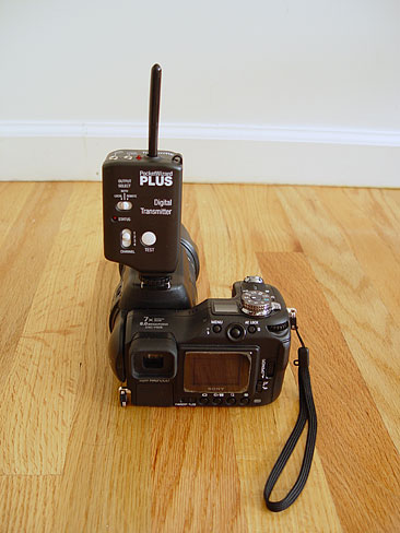 "This is showing the transmitter connected to the camera via the hotshoe. <br> For a complete shopping list, and to discuss these techinques, go <a href=""http://www.dgrin.com/showthread.php?t=26957"">here</a> on Digital Grin Forums."
