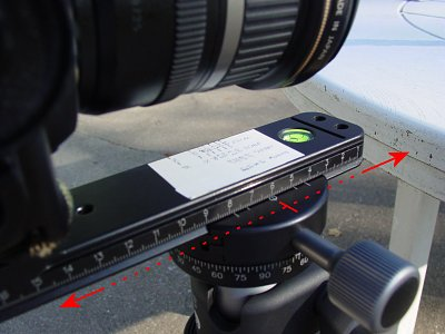 OK, so lets get busy determining the proper setting for our 22mm example.<br /> <br /> Make sure the head is level.<br /> <br /> We will place a couple of test targets in front of the lens and adjust the slide forwards and backwards with trial and error to eliminate parallax.