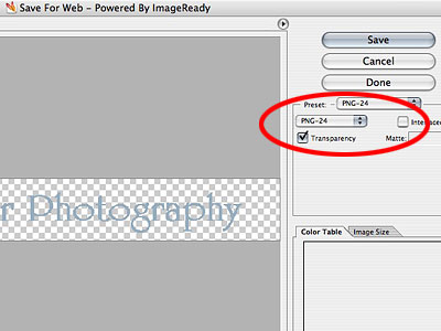 """Next will come the save for web screen, be sure to select PNG-24 and Transparency.  Click """"Save"""" and give your file a name, and location on your computer."""