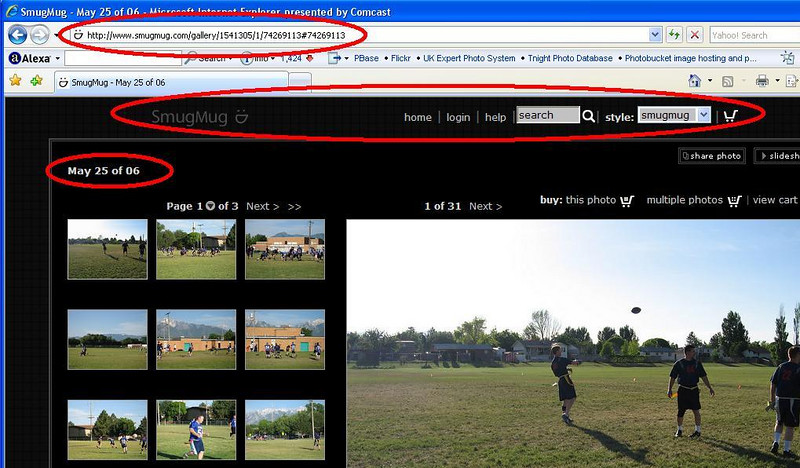 "There are three things that Hide Owner will adjust.    1) At the very top of this image, the URL is circled.  Hide Owner will remove the nickname from your URL and make it completely SmugMug.    2) You can see that the custom Banner has been replaced with the SmugMug banner.  This will also remove all customization on the page.  3) There are no links to the homepage any longer, just the gallery name.  <font color=""red"">Click on the photo to see these things more clearly.</font>"