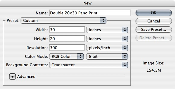 "Start by making a NEW 30"" by 20"" 300 dpi document in Photoshop."