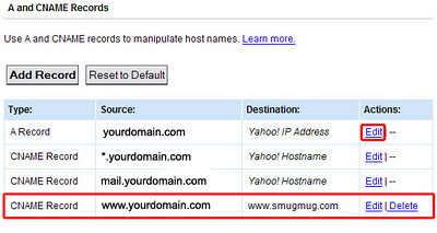 You should now see your new CNAME record for www pointing to www.smugmug.com  as seen here on the bottom.<br><br>  7) Optional - If you'd like<br> http://yourdomain.com   to point to your SmugMug site, in addition to<br />http://www.yourdomain.com, find the A record entry with yourdomain.com and click Edit.<br /><br />