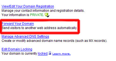 2) Let's make sure your domain is not forwarding anywhere.  Click on 'Forward Your Domain' .