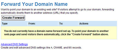 3 ) Delete any forwarding in place using the 'Delete' link under 'Actions'.   The page should look like this when you are done.  <br /> <br /> Click 'Advanced DNS Settings' .  Or, you can go back to your Domain Control Panel and click on 'Manage Advanced DNS Settings'.