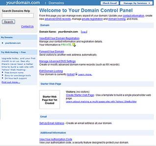 Yahoo Domain Configuration