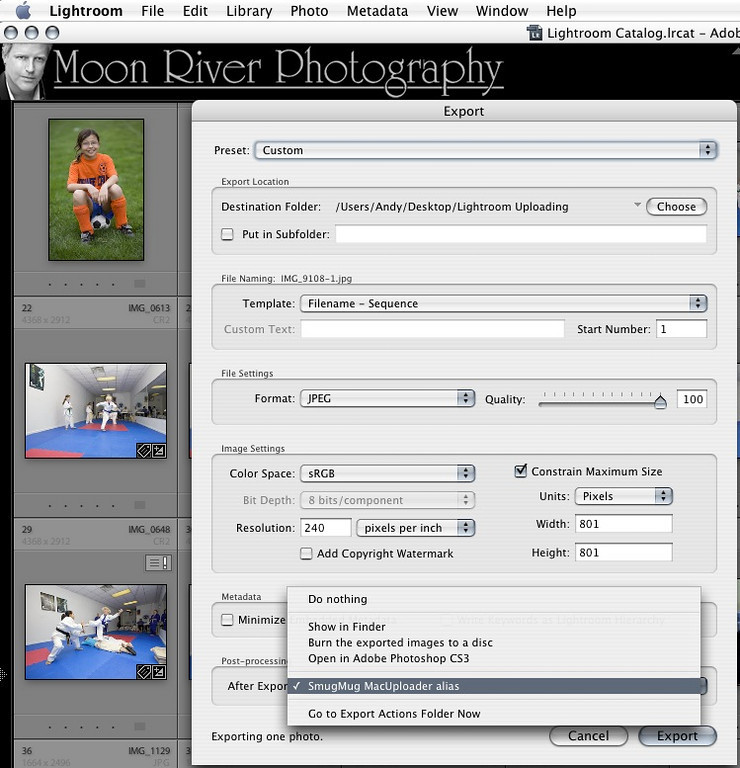 """Now that you've set things up, here's how to easily upload from lightroom to SmugMug:<br /> <br /> In Lightroom, when you choose File>Export, or right click on a thumb, or batch of thumbs, and choose """"Export > Export"""" you'll see SmugMug in the """"After Export"""" list.  <br /> <br /> Just click the """"Export"""" button."""