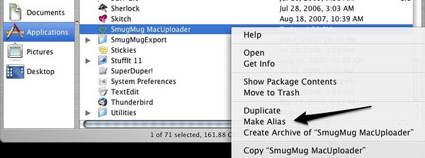 "These first few steps only need to be done one time, to get things set up.<br /> <br /> 1) Open your Applications folder in Finder.   Right click on SmugMug MacUploder - then click ""Make Alias.""  <br /> This will put ""SmugMug MacUploader Alias"" right beneath your current SmugMug MacUploader.  <br /> <br /> 2) Move this finder window off to the side - we'll come back to it shortly."